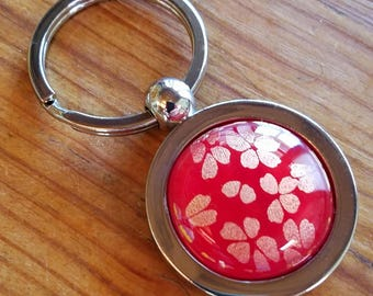 Key Ring or Key Chain decorated with a Red Cherry Blossom fused glass inlay