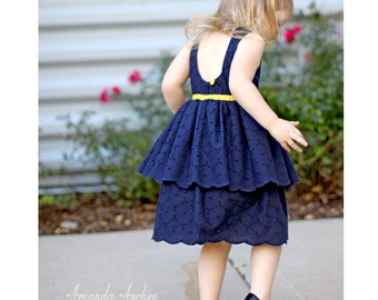 Navy Eyelet and Yellow Toddler and Girls Cotton Dress, Special Occasion, Flower Girl