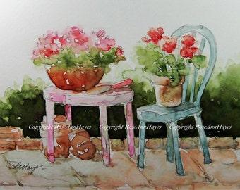 Geraniums on the Patio Original Watercolor Painting Flowers Floral Garden Landscape