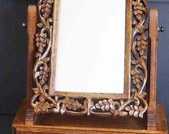 Carved Wood Dresser Swivel Mirror with Drawer Jewely Box