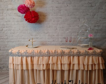 ready to ship peach blush tiered ruffle fitted tablecloth with gray lace rectangle wedding decor sweet