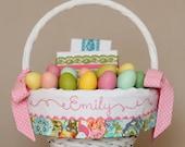 Easter Basket Liner, GIRL fits Pottery Barn Kids Baskets, Monogrammed Embroidered Easter Basket, Handmade Lilly Belle Garden Floral