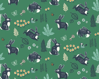 Birch Hidden Garden Bunny Hop Green Organic Cotton Fabric