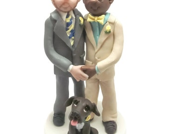 Custom wedding cake topper, Same Sex wedding cake topper, groom and groom cake topper, Mr and Mr cake topper, personalized cake topper