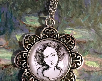 Portrait of Adriana - Scribble Art Necklace
