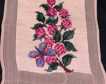 Vintage Pink Floral and Butterfly Hand Made Unframed Needlepoint Piece