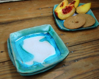 Dessert or Bread Plate in Turquoise and White - Made to Order