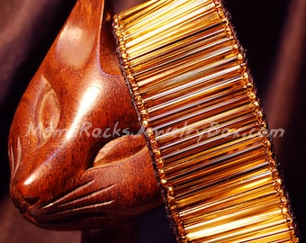 """Leather Cuff Single Wrap Bracelet Sparkling Gold 30mm Bugles and Black Leather 8"""""""