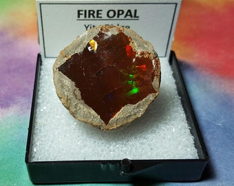 Sale 20.6 Gram FIRE OPAL Sale Natural Rainbow Flash Desert Opal Gemstone Mineral Specimen In Larger Size Display Box From Ethiopia Sale