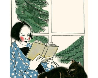 """Cat illustration cat print  A Good Book and Thou - 4"""" X 6""""  - 4 for 3 SALE"""
