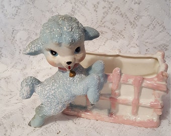 Vintage Blue Lamb with Pink Fence Planter