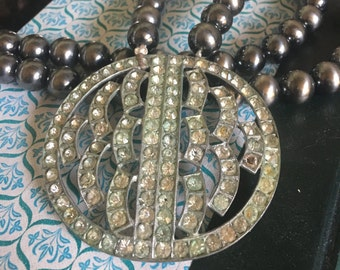 Vintage Rhinestone Brooch Beaded Statement Necklace Silver Patina Old