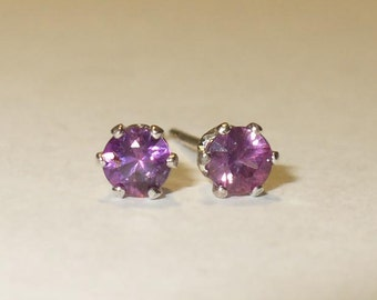 Red Violet Sapphire Stud Earrings in Solid Sterling Silver - Tiny Brilliant Natural Gemstones