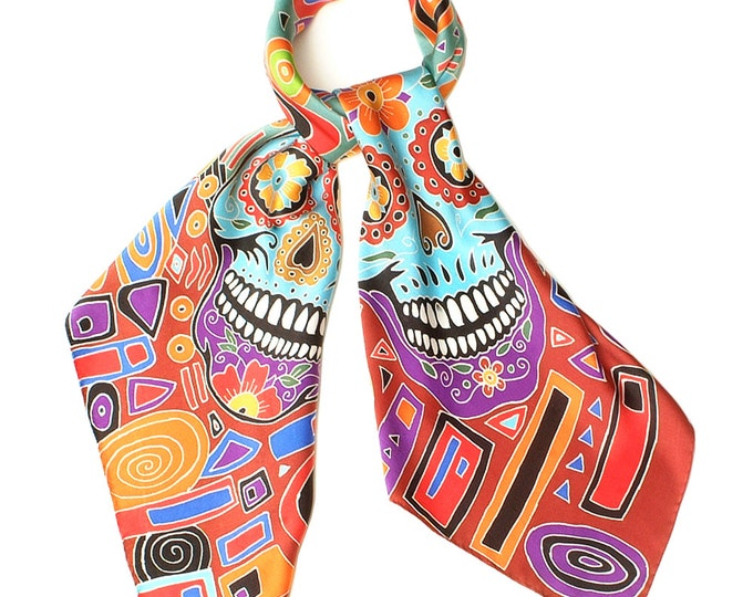 Silk Scarf Handpainted, Skull scarf, Square scarf, Hand made scarf, Modern scarf, Artist scarf, Batik Scarf with skulls, Womens Silk Scarf