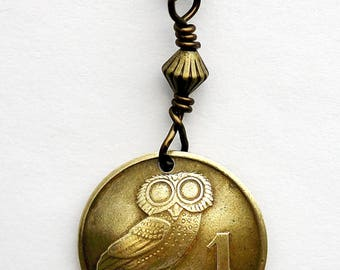 Greek Owl Necklace Domed Coin Necklace, Phoenix Coin Pendant, Wire Wrapped Brass Bead, 1 Drachma, 1973, Jewelry by Hendywood