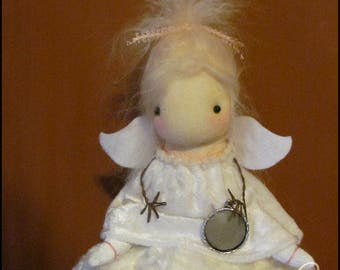 Guardian Angel on a cloud Doll Whimsical Farmhouse decor white cottage shabby decor country  primitive creepy cute  Quirky memorial doll
