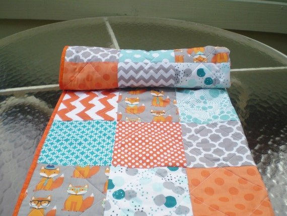 Baby Quilt Fox Baby Quilt Baby Boy Bedding Baby By Happyquilts