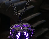 Heart Pendant Heart Jewellery Glowing Necklace - Glowing Purple Heart- Lovely Valentine Gift for Her - LED jewelry - Black