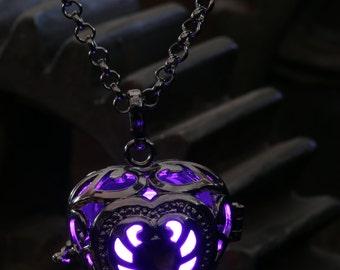 Heart Pendant Heart Jewellery Glowing Nekclace - Glowing Purple Heart- Lovely Valentine Gift for Her - LED jewelry - Black