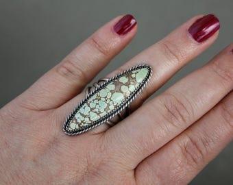 Hubei turquoise ring - metalwork - sterling silver ring - silver and turquoise - statement ring - southwestern - bohemian - large ring