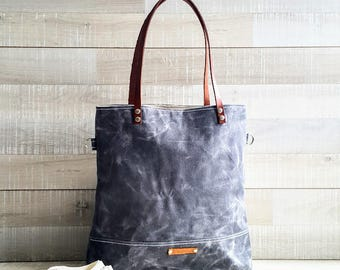 SALE - Waxed Canvas Tote Bag, Grey Tote, UNISEX tote Bag, Gray Tote Bag, Cross body bag, Leather Straps, Travel Bag, Canvas Tote, Men Bag