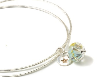 Slim Sterling Silver Charm Bangles with Lampwork Glass and Fine Silver Charms | 'Aqua Gold' Stacking Bangles | UK