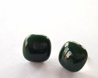 Green Stud Earrings, Dark Green Earrings, Post Earrings, Fused Glass Jewelry, Sterling Silver Posts,  Forest Green, Handmade in USA
