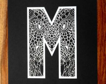 Initial paper cut wall art, dragon face, monster face