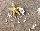 natural starfish barrette - mermaid hair clip, starfish and shell hair clip, mermaid accessory, beach wedding, bohemian wedding