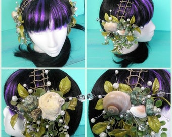 mermaid headdress - shell hair clips, green headdress, faerie headdress, mermaid costume, dance headdress