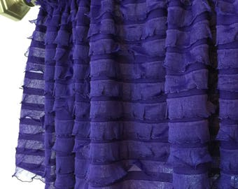 Purple Valance - Purple Kitchen Curtains - Bedroom Valances- Ruffle Valance Curtains- Extra Wide Valance- Girl Nursery Curtain Sheer Valance