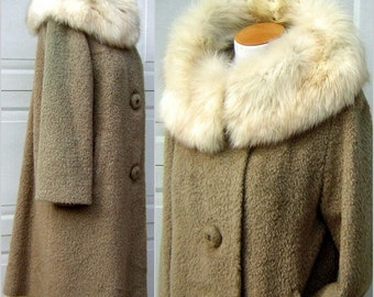 Vintage 50s Fox Fur Collar Winter Coat MIRRAX Mohair Poodle Cloth Superior GLAM Fluffy Real Fur - Very Warm MEDIUM
