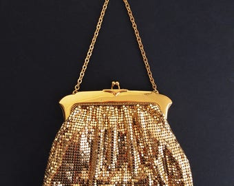 40s 50s Whiting & Davis Gold Metal Mesh Evening Bag