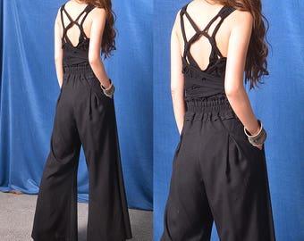 My zen - artistic cotton bra top / black summer bottomming shirt / cotton yoga top (Y318SM)