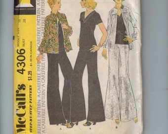 1970s Vintage Sewing Pattern McCalls 4306 Misses Soft Top Unlined Jacket Wide Leg Palazzo Pants Size 16 Bust 38 1974 70s UNCUT