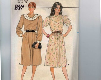 1980s Vintage Sewing Pattern Butterick 6360 Misses Modest Dress with Puff Sleeves and Front Drape Size 8 10 12 Bust 31 1/2 32 1/2 34 80s