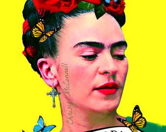 Frida Kahlo Viva La Vida Butterfly Poster Print Instant Digital Download Boho Modern Home Decor Art Mexican Butterflies Yellow Red Aqua Blue