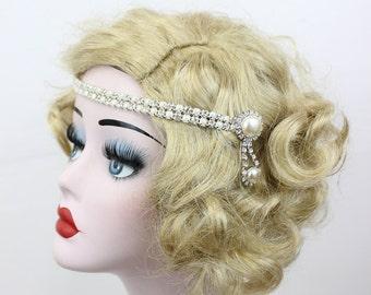 Pearl Headband, Bridal Hair Accessory, Rhinestone Crystal Headpiece, Prom Hair Accessory, Great Gatsby Wedding, Pin Up Fashion