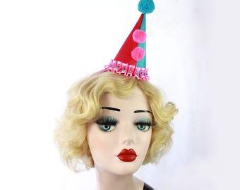Mini Clown Hat, Birthday Party Hat, Halloween Costume, Circus Costume, Kids Costume, Cirque Costume, Classic Clown, Pink Hat