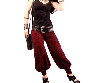 Pantaloons, YOUR SIZE, Dark Red and Black, Genie in the Bottle, Bloomers, Dance, Tribal, Bellydance, Pantaloons, Cabaret, Fusion Boutique