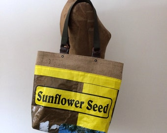 Upcycled Sunflower Seed Bag Tote with Repurposed Burlap Lining, OOAK, Made in Maine