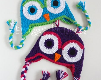 Owl Hat Toddler Blue Purple Gifts for Kids Ready to Ship Gifts for Baby Earflap Winter Beanie