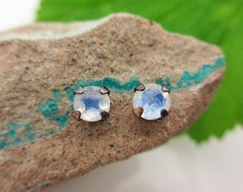 Black Silver Blue Moonstone Stud Earrings, 4mm