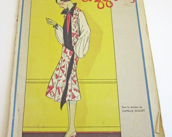 RARE Vintage French Magazine Chiffons August 1925 1920's Fashion & Couture Lelong Illustrations