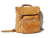 Vintage Harvest Bronze Tan Leather Backpack