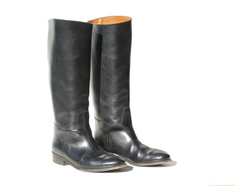 Vintage Italian Black Leather Riding Boots / size 7