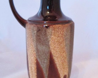 Vintage Mid Century Royal Haeger Pottery Vase Pitcher Brown Lava Drip Glaze Blue Cream Brown Retro Vase Retro Pitcher