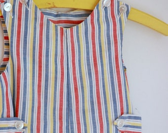 Vintage striped jonjon imp originals 3t red blue and yellow