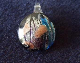 Black Lampwork Glass Pendant