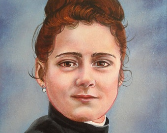 "Saint Therese The Little Flower, Religious, Doctor of the Church, at age 15, 11"" X 14"" Acrylic Painting on Canvas, Signed Catholic Art,"